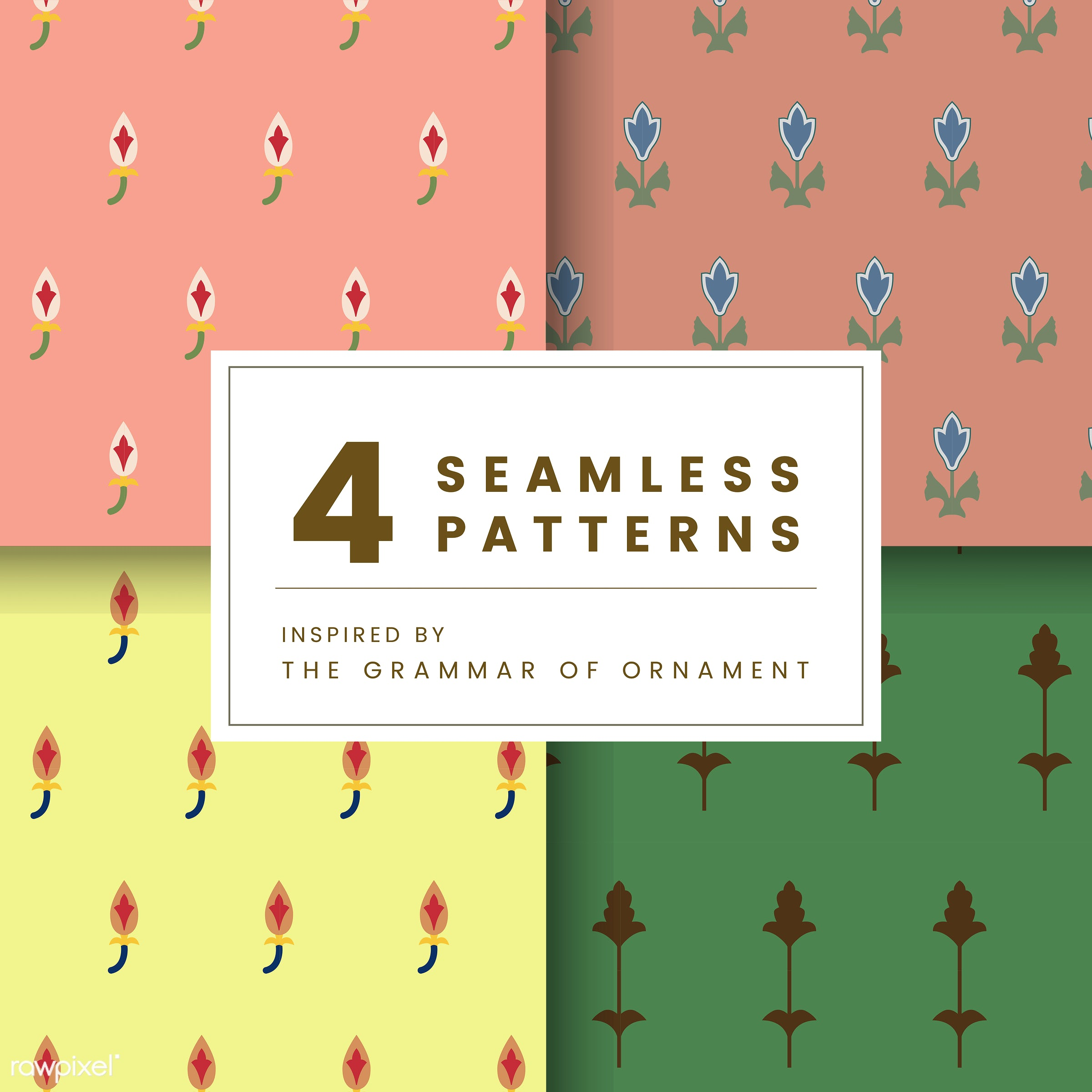 Set of 4 vintage patterns inspired by The Grammar of Ornament  - pattern, vintage, seamless, modern, texture, textile, print...