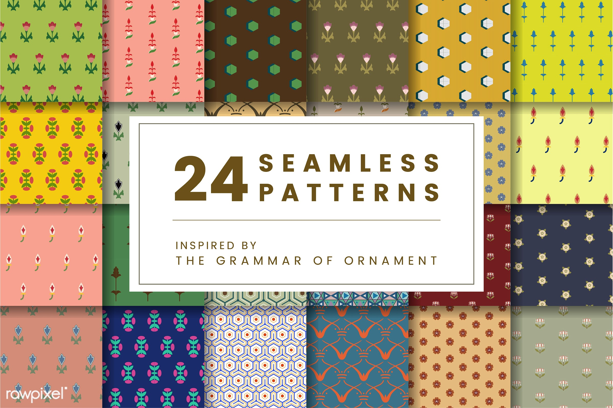 Set of 24 vintage patterns inspired by The Grammar of Ornament  - pattern, vintage, seamless, modern, texture, textile,...