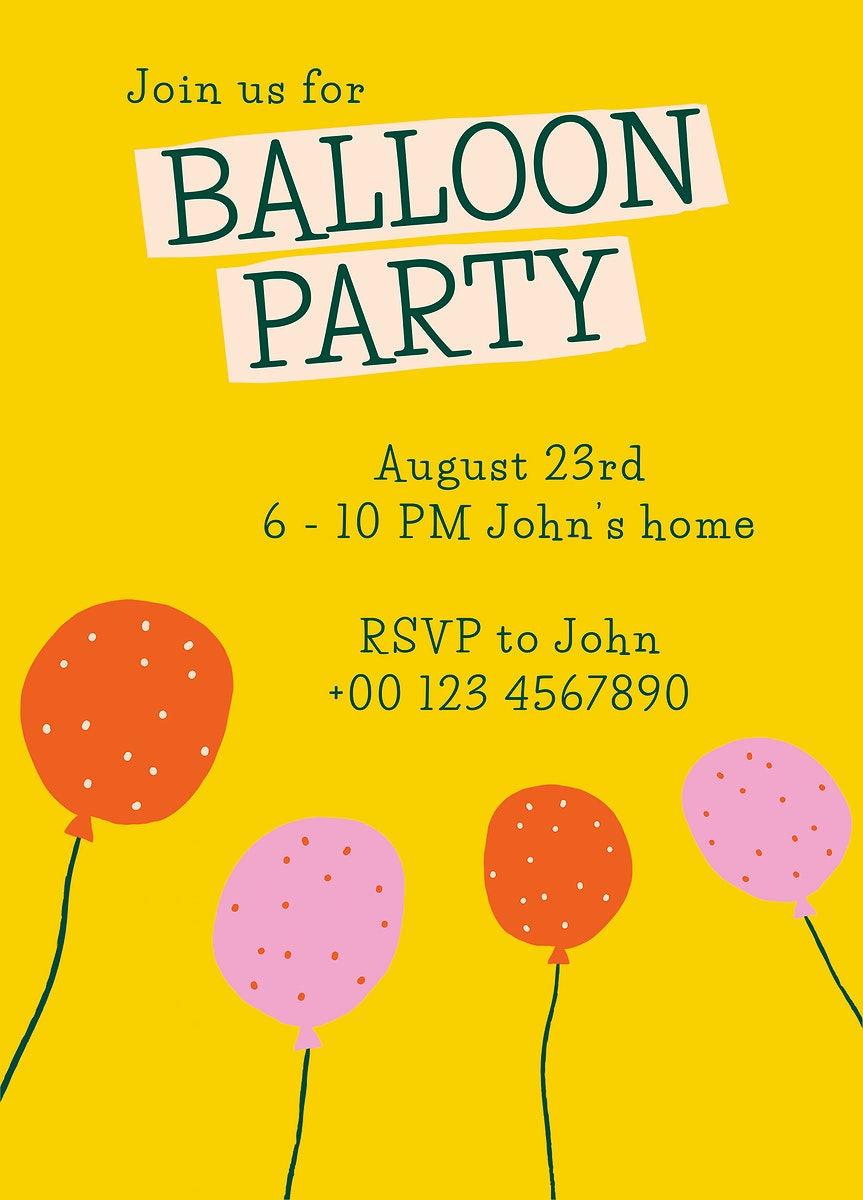 Party invitation card template psd with cute doodle balloons