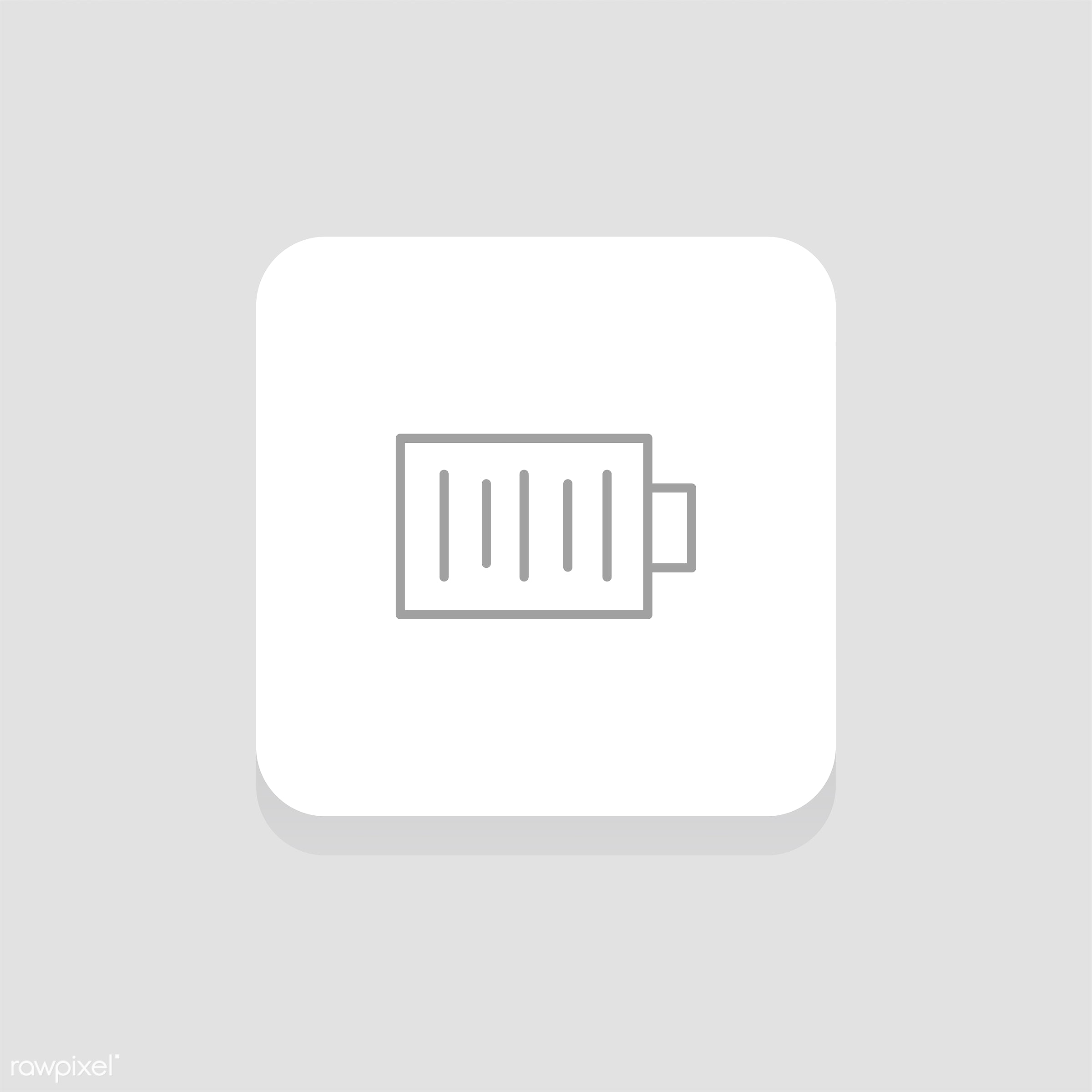 Vector of battery  icon - call, cellphone, design, flat, graphic, icon, illustration, isolated, layout, mobile phone, style...