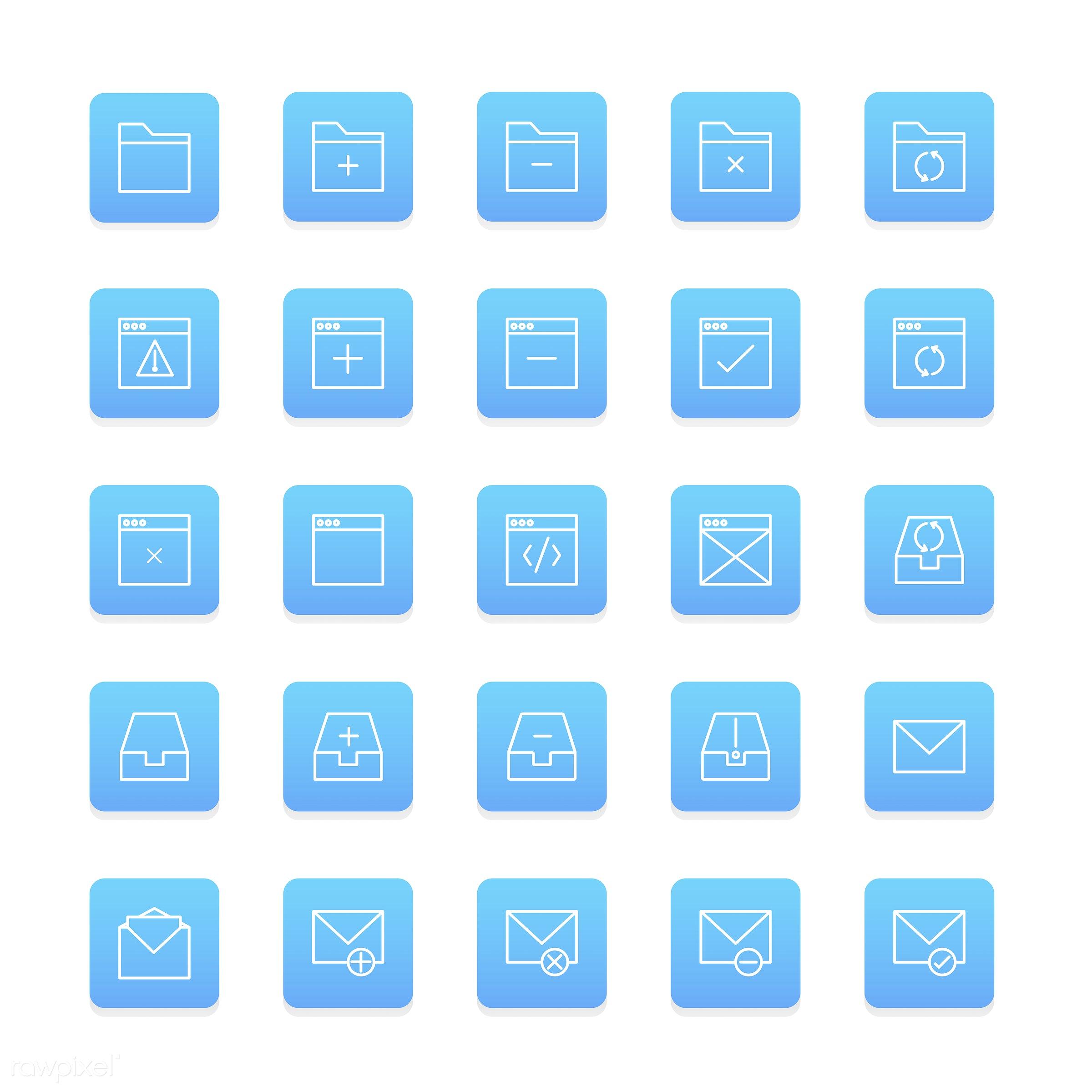 Vector set of folder icon - collection, design, flat, graphic, icon, illustration, isolated, layout, platform, set, style,...