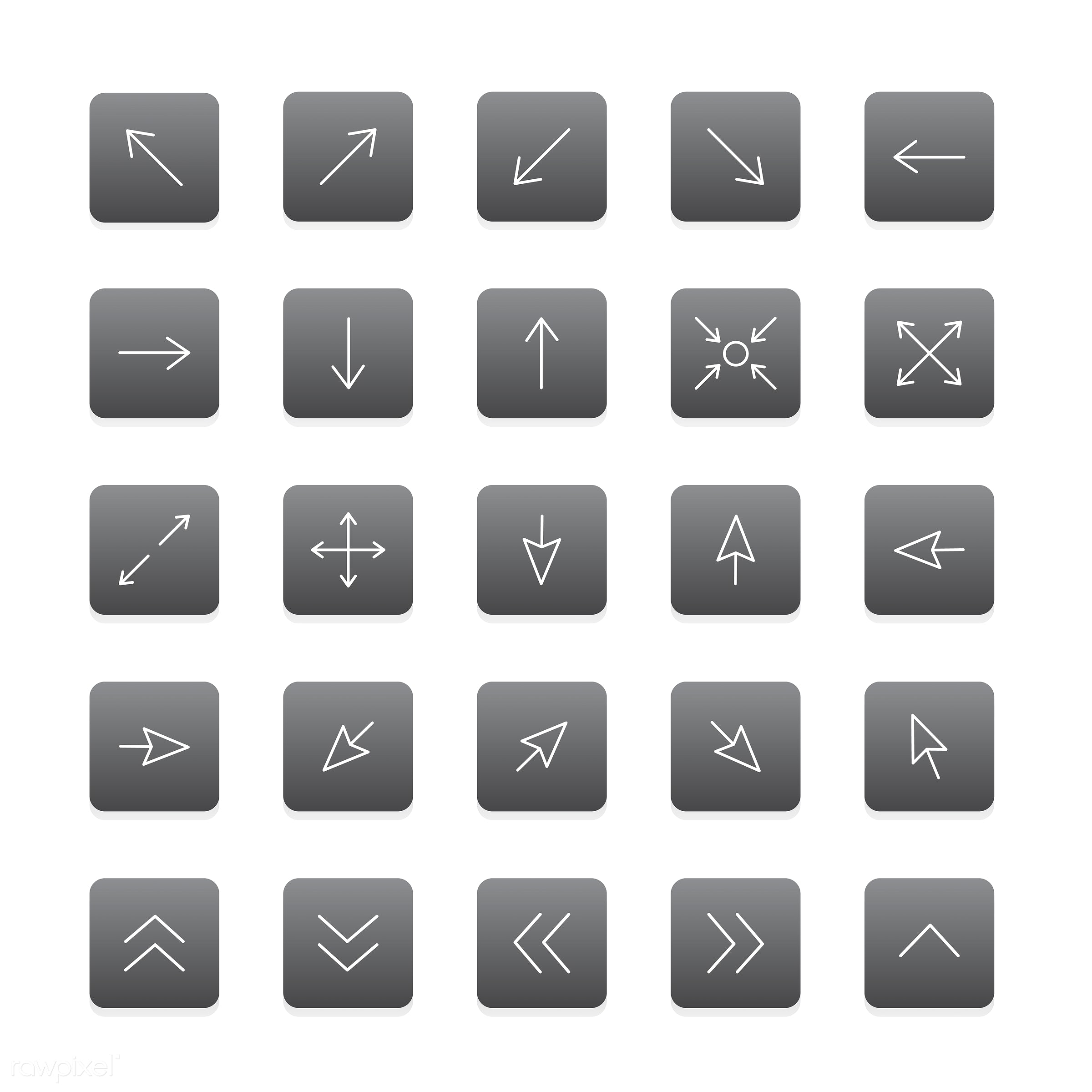 Vector set of arrow icon - collection, design, flat, graphic, icon, illustration, isolated, layout, platform, set, style,...