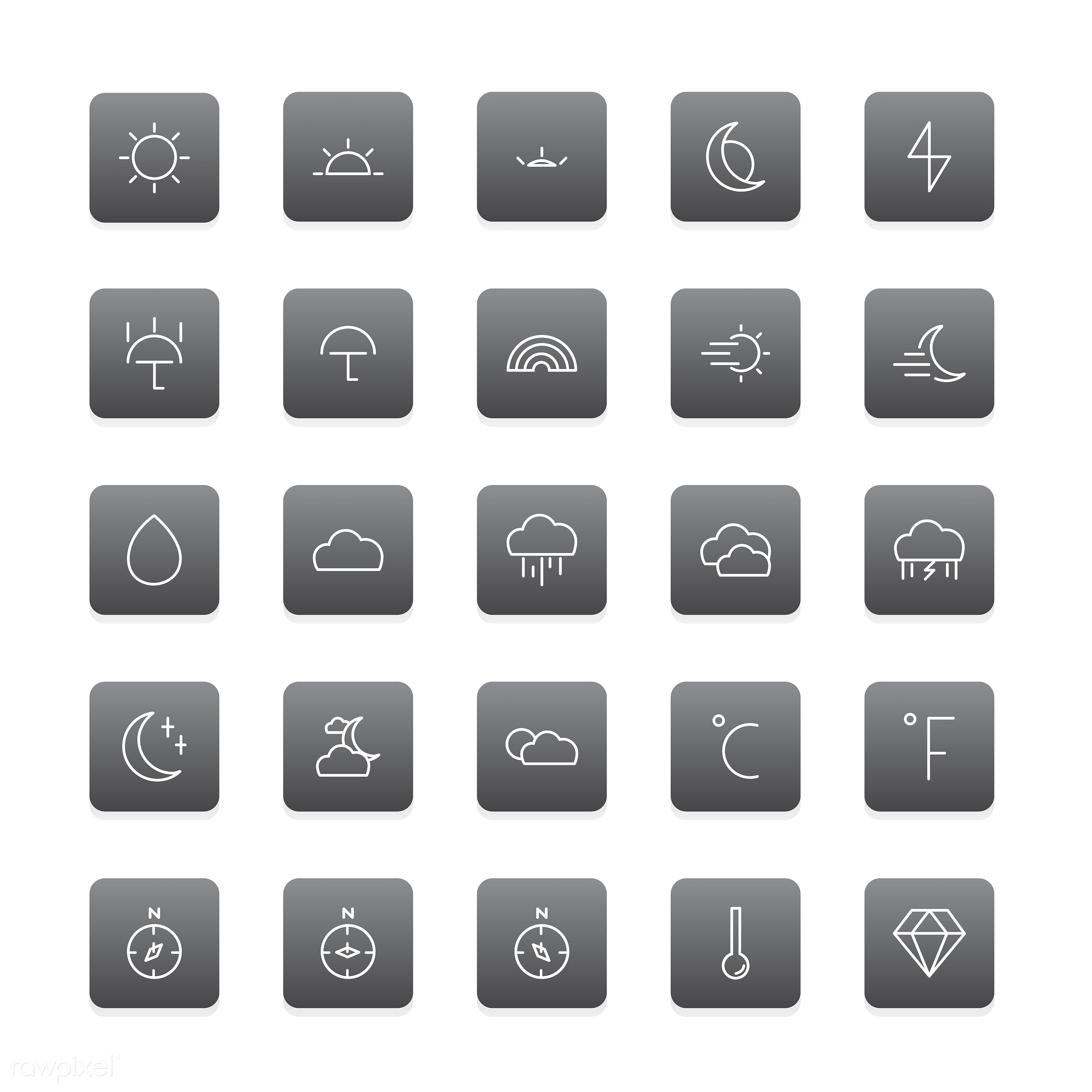 Vector of weather icon - collection, design, flat, graphic, icon, illustration, isolated, layout, platform, set, style,...