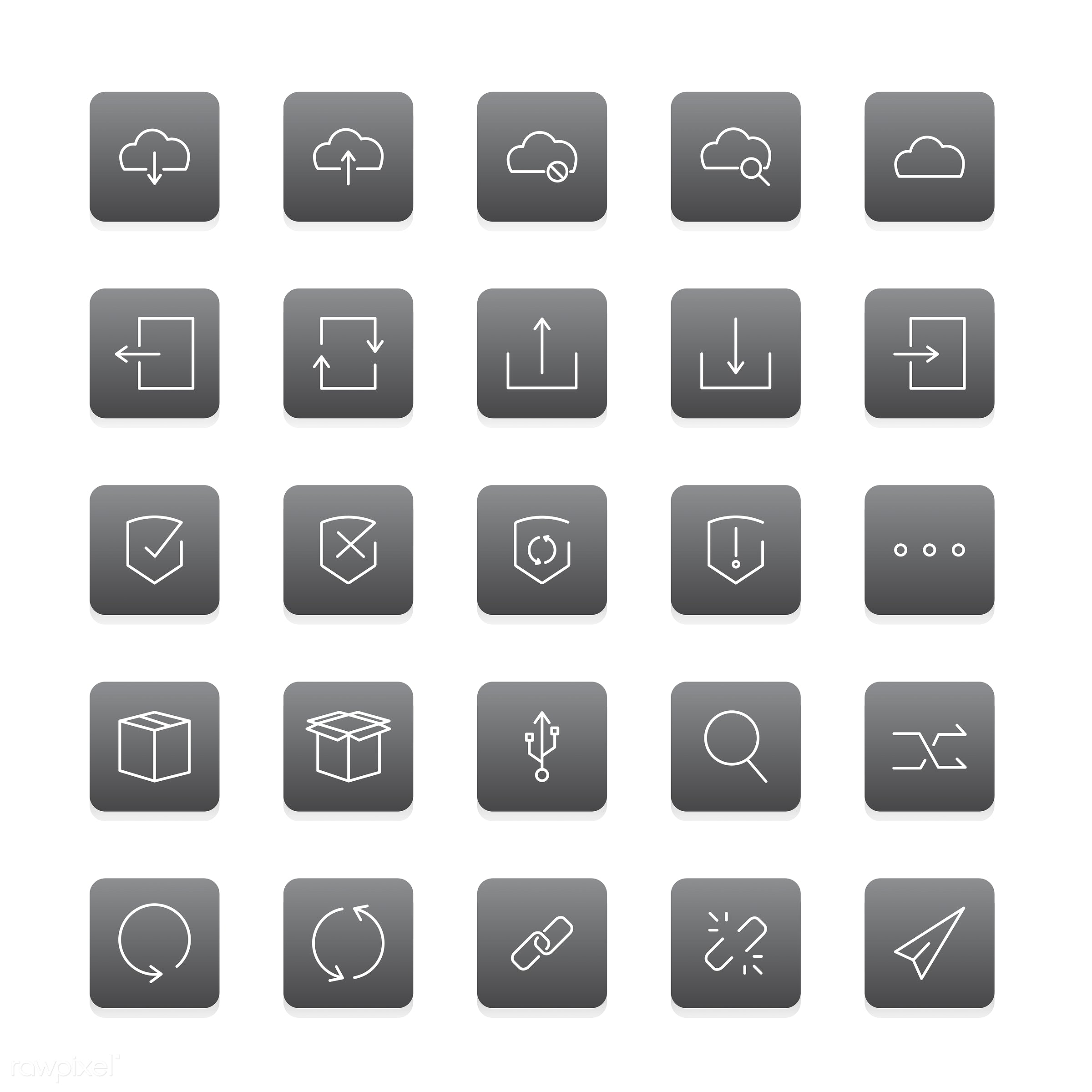 Vector of website data storage icons - collection, design, flat, graphic, icon, illustration, isolated, layout, platform,...