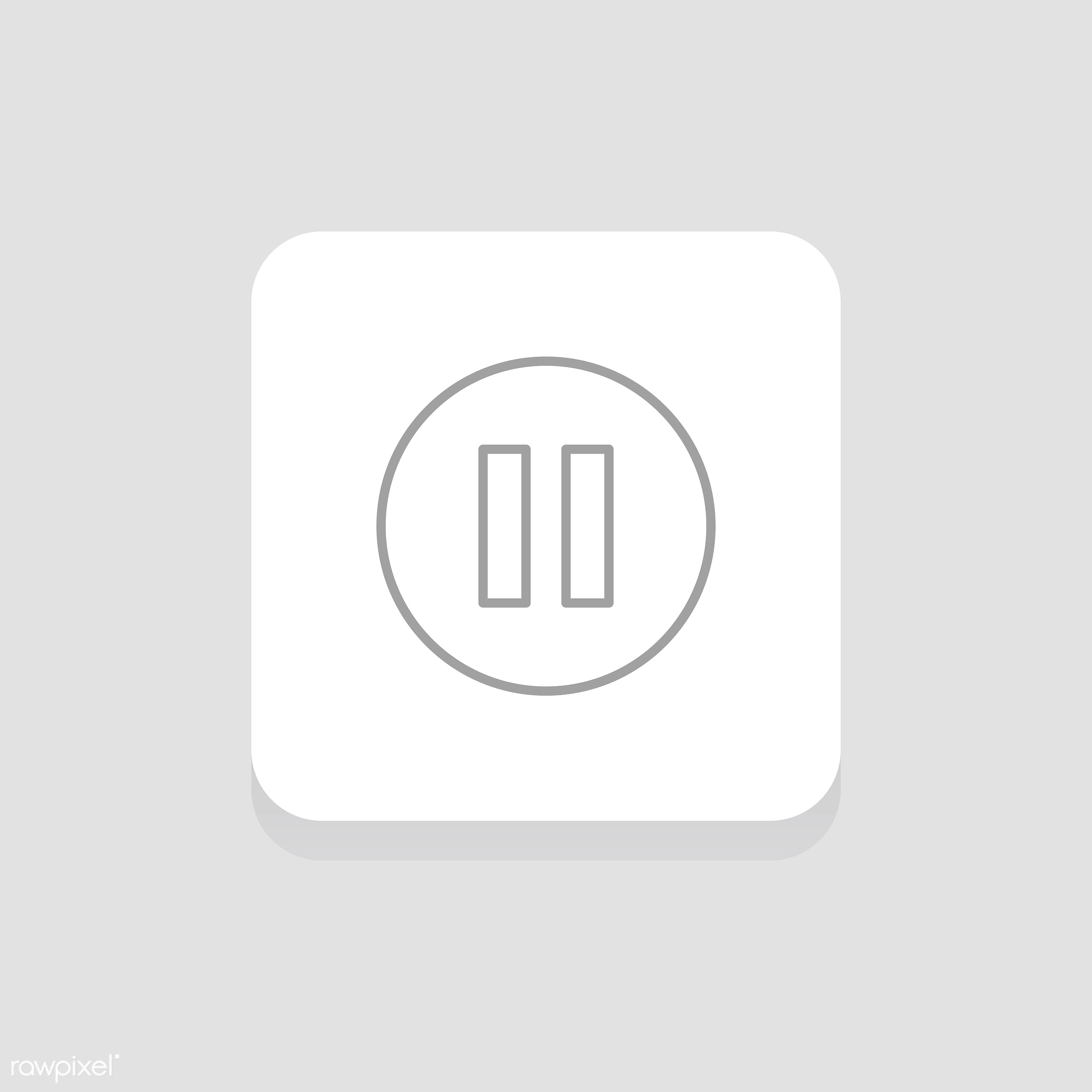Vector of pause button icon - music, audio, design, entertainment, flat, graphic, icon, illustration, isolated, layout,...