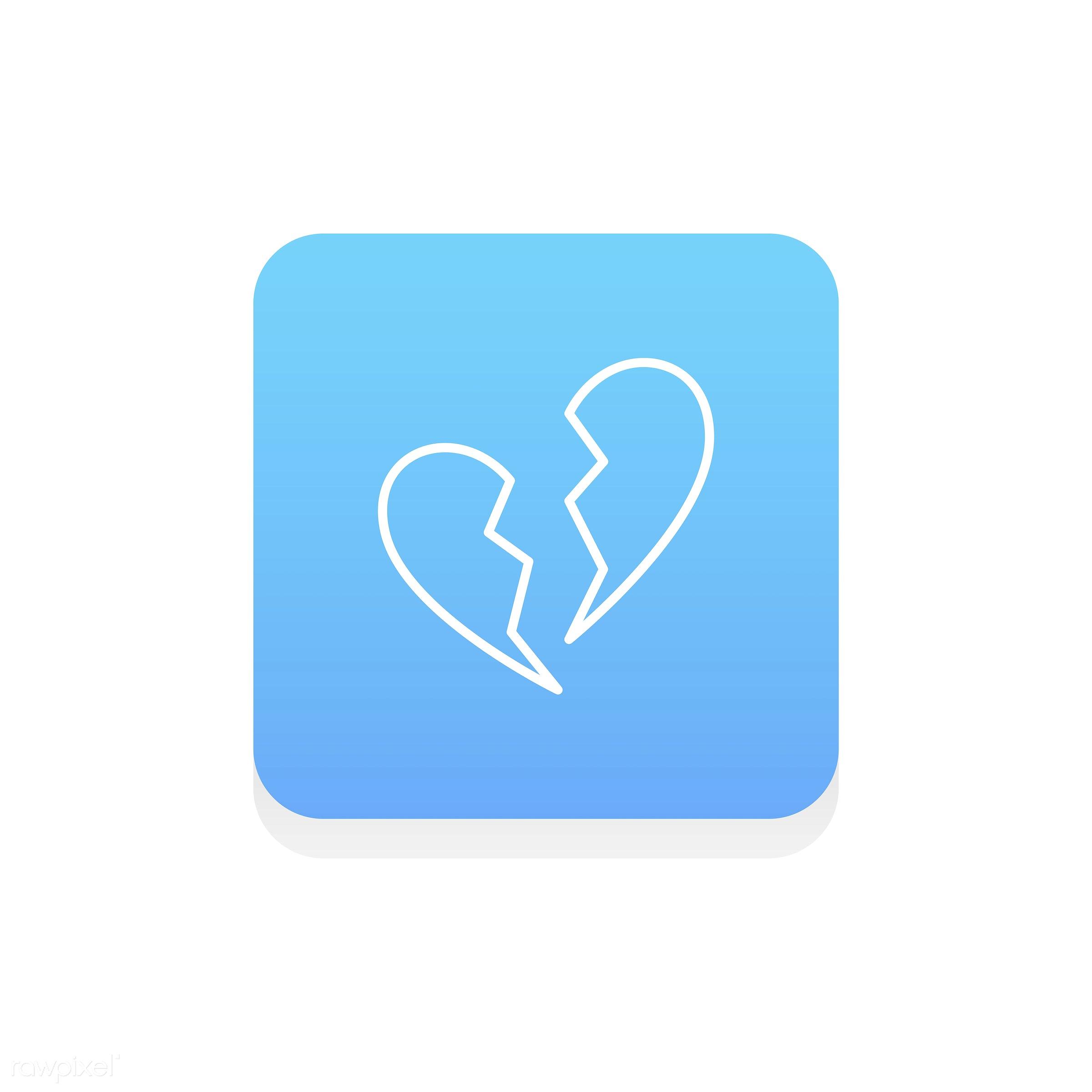 Vector of heart icon - breakup, broke, broken, broken hearted, design, emotion, expression, feeling, flat, graphic, heart,...