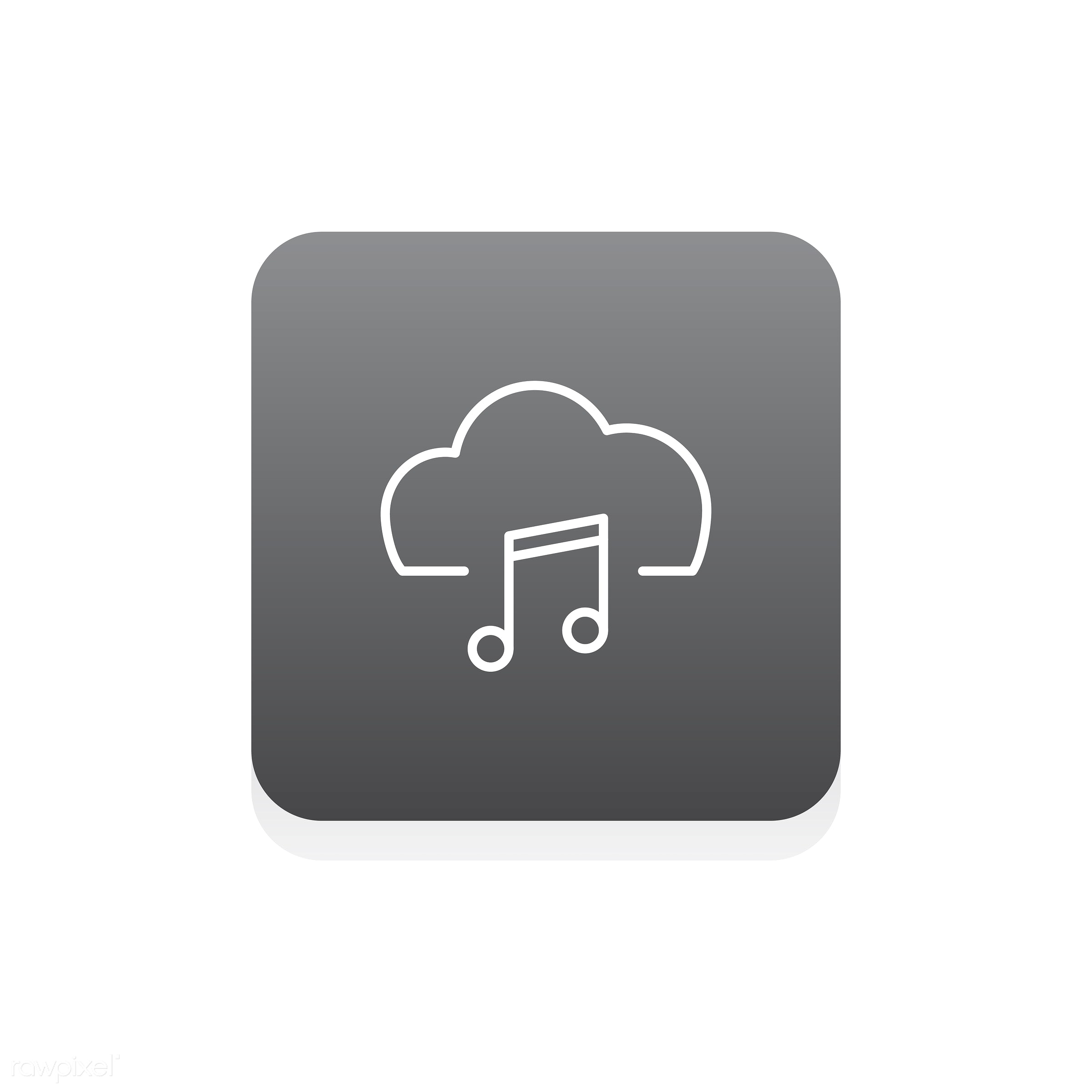 Vector of website data storage icons - music, audio, design, entertainment, flat, graphic, icon, illustration, isolated,...