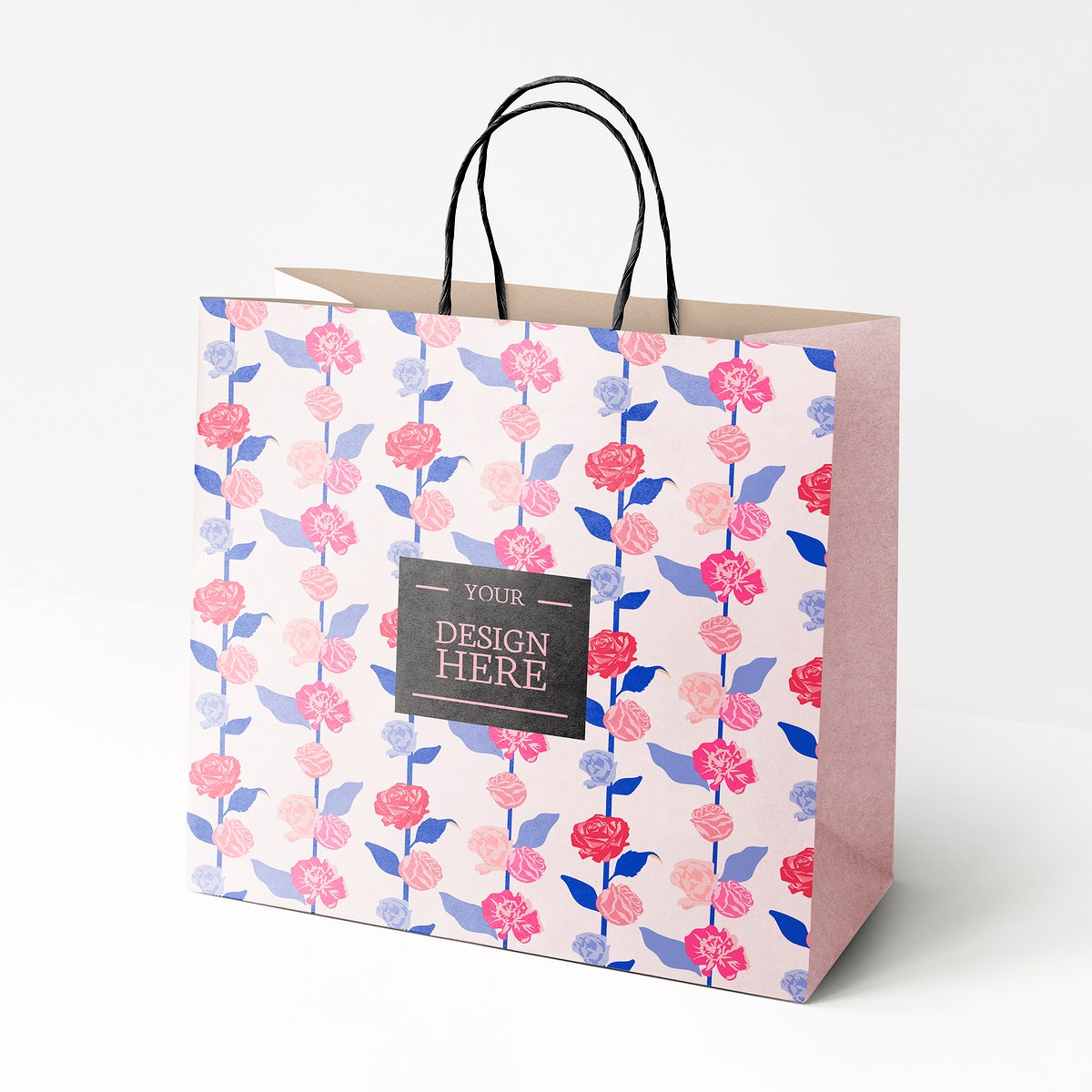Floral shopping bag mockup psd with colorful roses