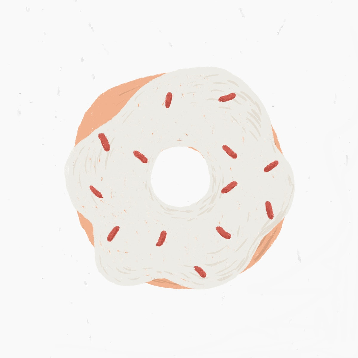 White sprinkle donut element psd cute hand drawn style