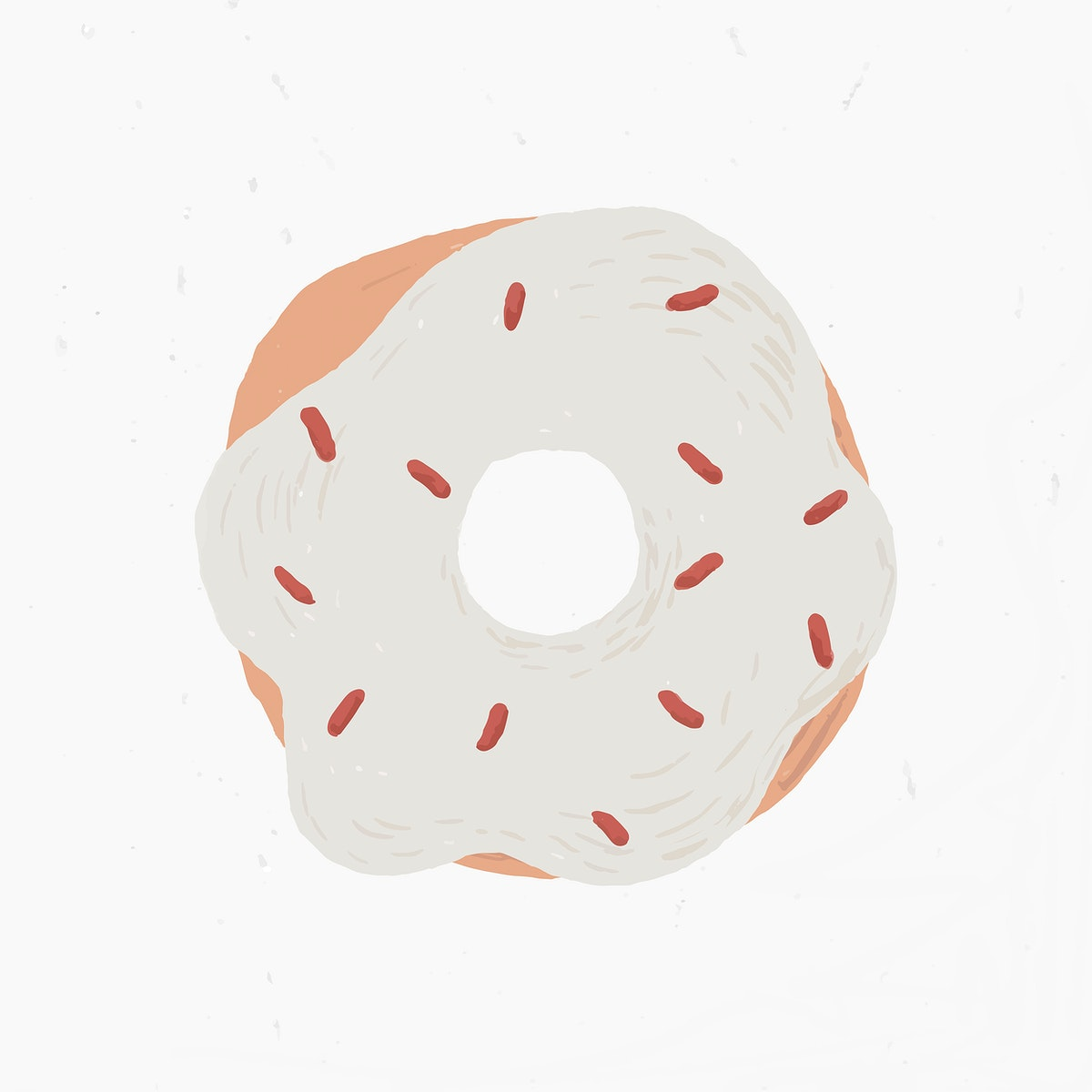 White sprinkle donut element vector cute hand drawn style