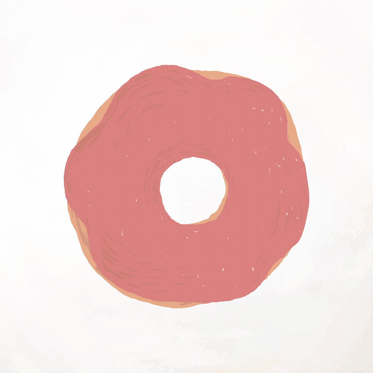 Strawberry frosted donut element vector cute hand drawn style