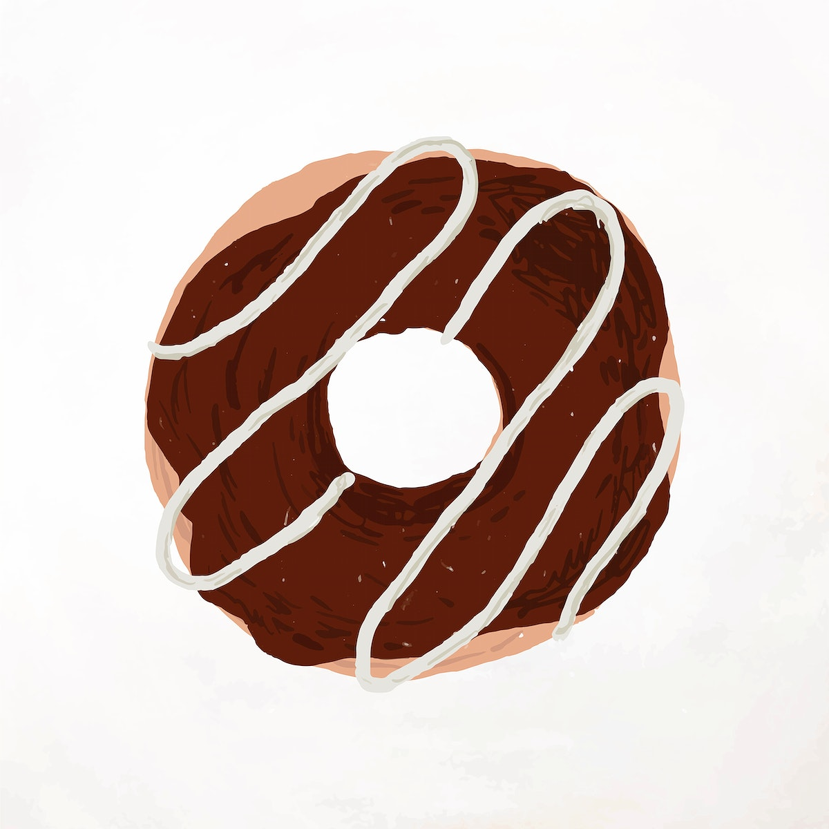 Chocolate frosted donut element cute hand drawn style