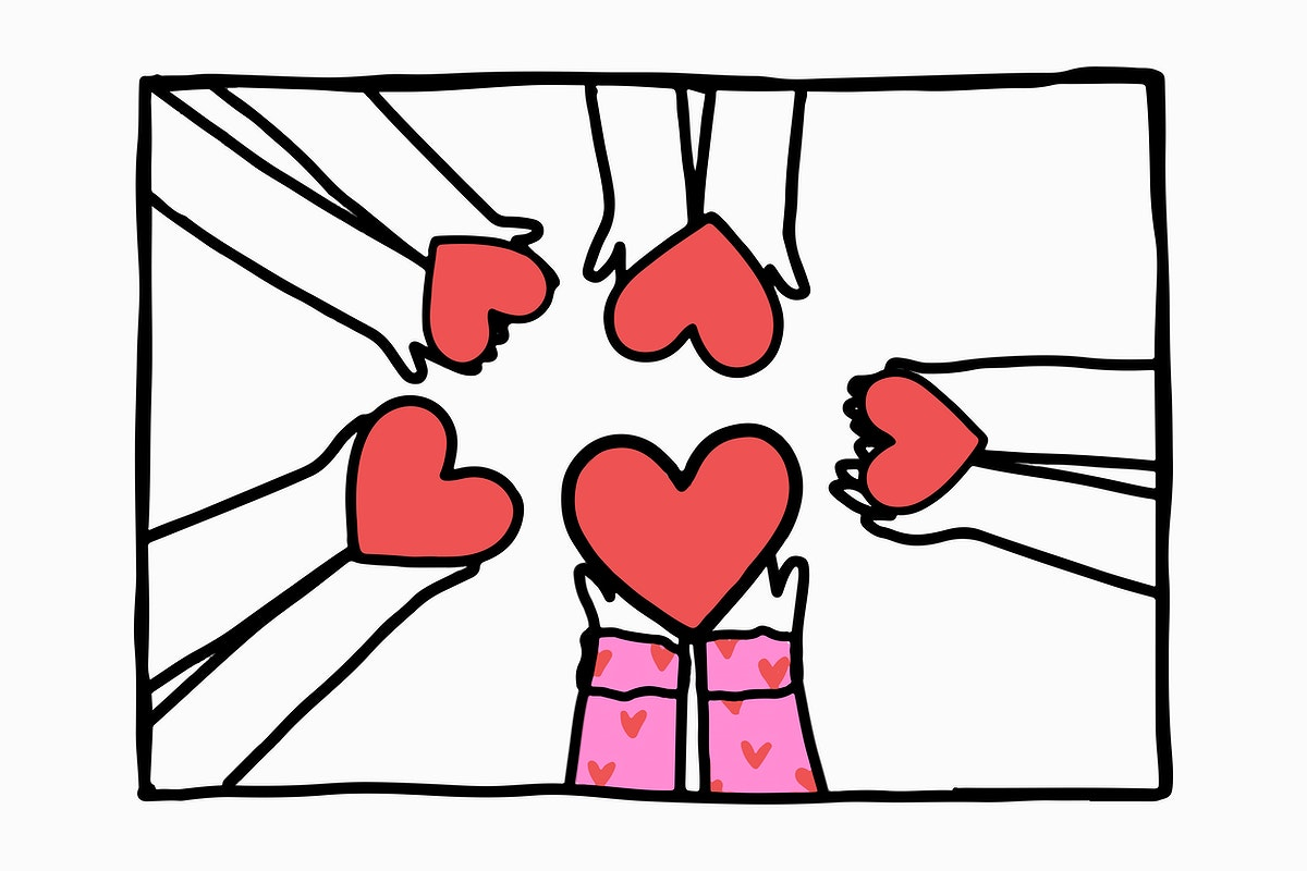 Friendship doodle with hands sharing hearts