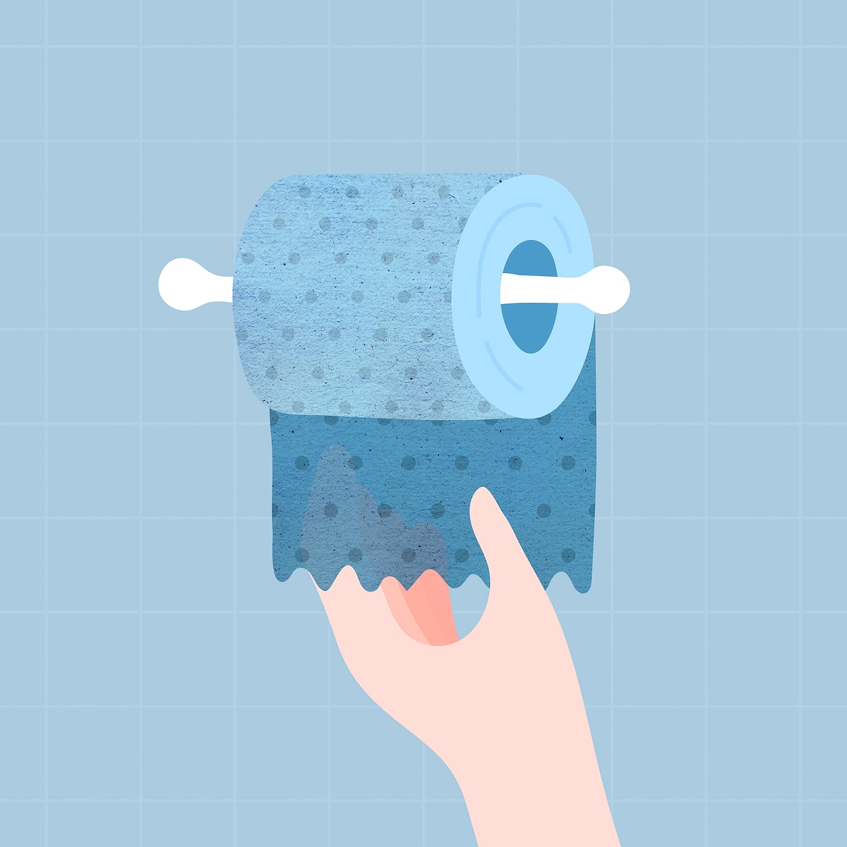 Hand getting a blue toilet tissue vector