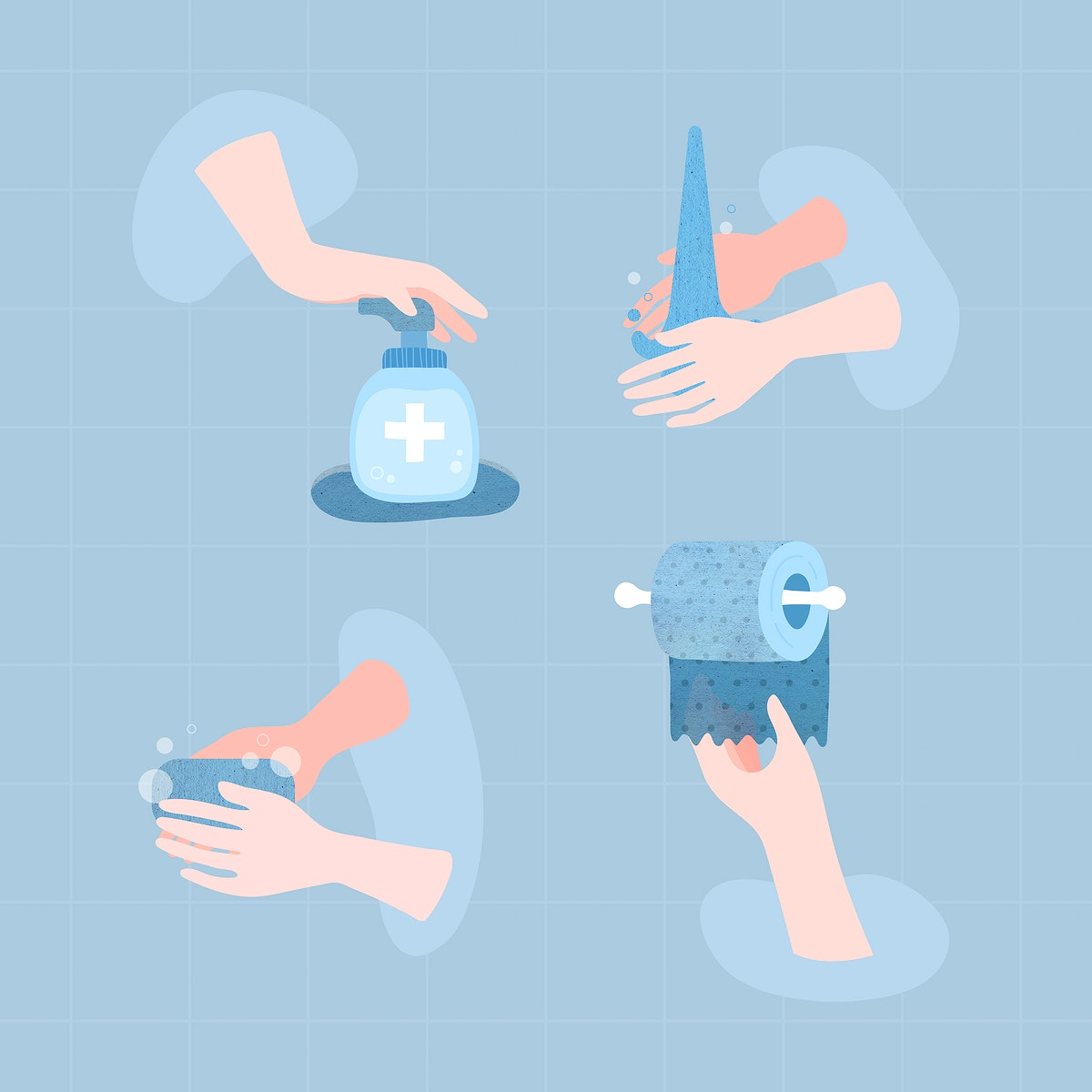 Clean your hands to prevent the spread of coronavirus vector