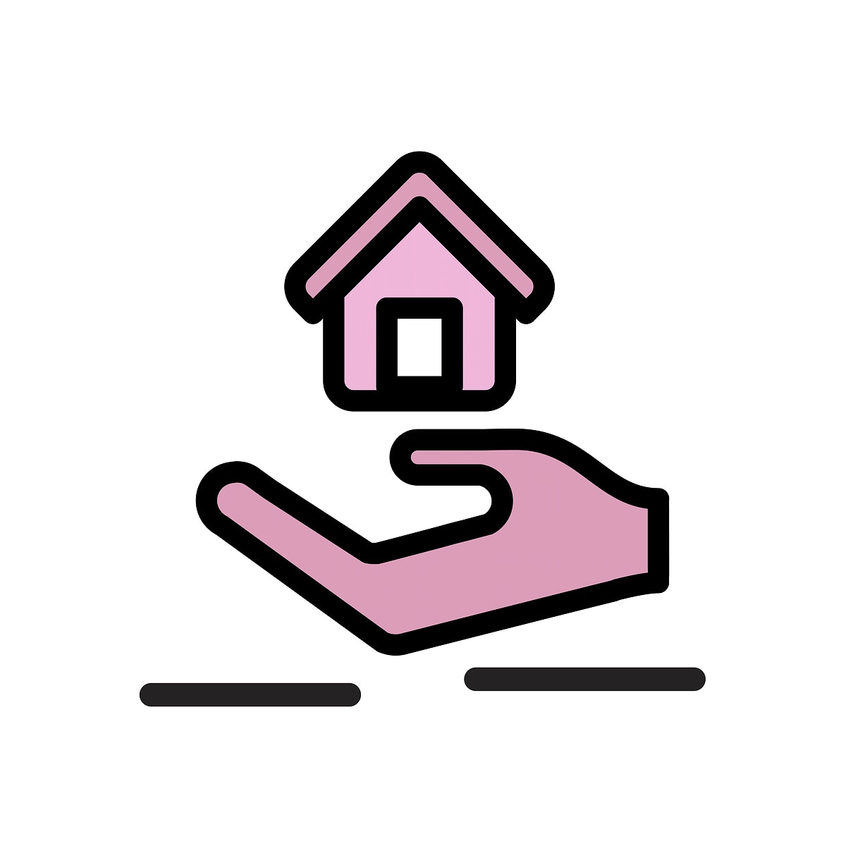 Illustration of hand under the house for real estate icon